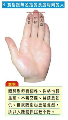 食指跟无名指长度相同