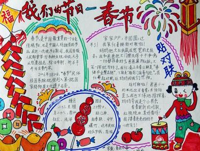鸡年春节手抄报图片