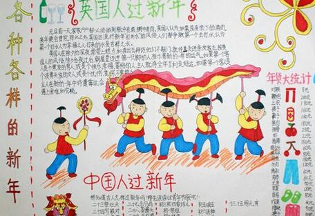 鸡年春节手抄报